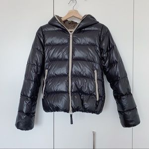 Duvetica Thia Hooded Down Jacket Black Brown
